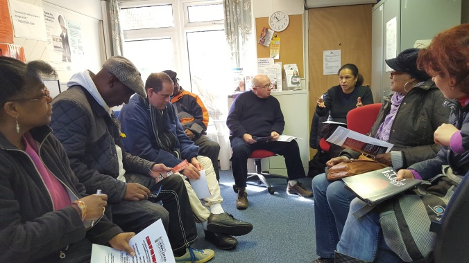 Claimants discuss how to tackle their current issues at Stand Up For Your Rights Sessions organsied by LUS